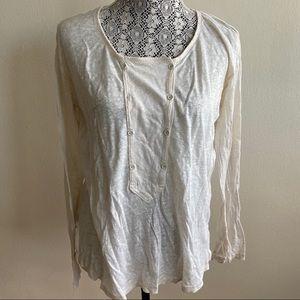 Aritzia Wilfred 100% Linen White Shirt Small
